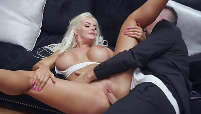 Big butt blonde works the cock like a goddess