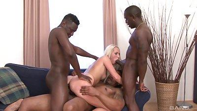Glum blonde babe tries hard sex up three black thugs
