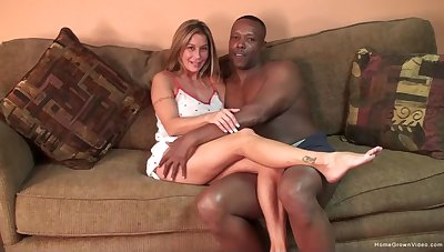 Silicone blonde gets her pussy pounded badly by a black dude