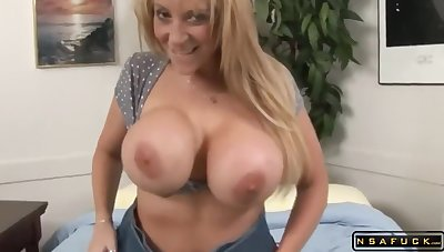 Huge tits MILF takes 2 monster outrageous cocks