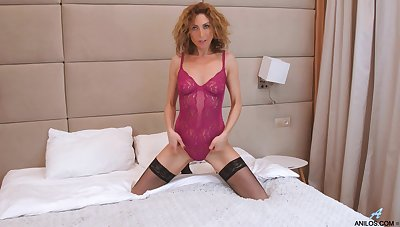 Sexually charged of age piece of baggage Dafna May is masturbating wet pussy