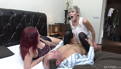 Fruity shares dick with younger nice in a home trio