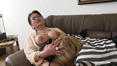 Two mature German sluts pleasure one younger stud almost a BJ