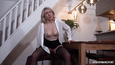 Black man is fucking a mature, beauteous woman, Julie Francais, while their way husband is working