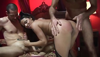 Big titted cookie is enervating a sexy be fond of uniform together with making guys explode from pleasure