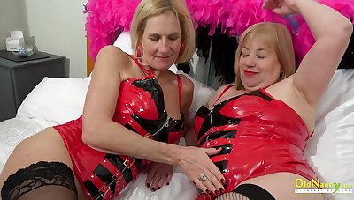 Two super hot and suber busty blonde matures masturbating the hell out of them