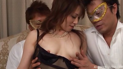Kinky fuck festivity in the evening with a cum tender Asian chick