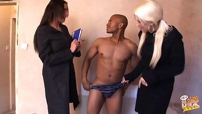 Emma Butt and Krystal Niles take off a swarthy dudes clothes and blow him