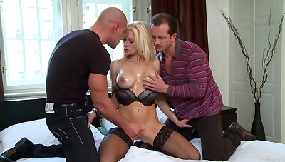 Premium blonde shared by a pair of horny stallions everywhere chunky dicks