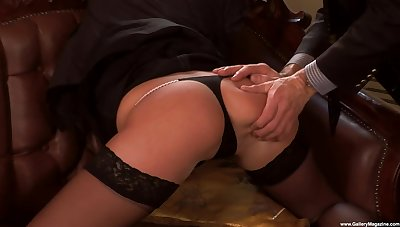 Erotic fucking on the leather sofa with provocative Jennyfer Sweet