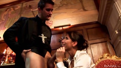 Kinky making out between a priest and naughty slut Lezley Zen