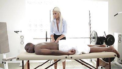 Fabulous MILFie masseuse Bridgette B provides Deprive Piper with a sensual BJ