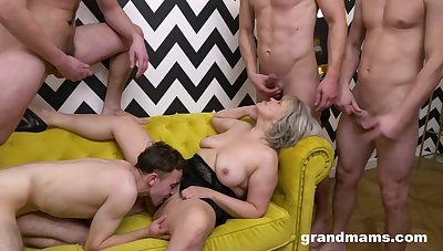 Grown up takes serious inches through the tight holes nearly serious gangbang
