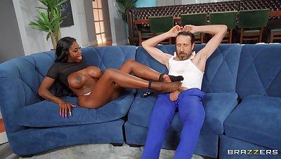 Lickerish ebony chick Ebony Preternaturalism masturbates plus rides a white dick