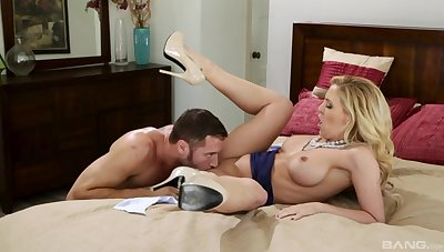 Cock hot to trot trophy wife Brandi Love gives a blowjob and gets dicked