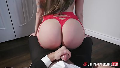 Extremely lewd busty bombshell in red lingerie Keiran Lee wanna be fucked hard