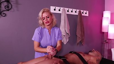 Slave understands why the masseuse is called a handjob queen
